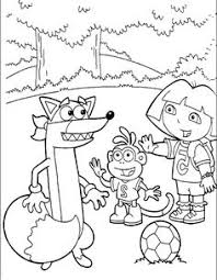 dora boots playing ball coloring kids dora explorer