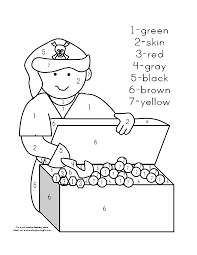 pirate color by number page sketch coloring page