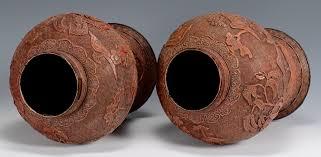 Cinnabar Vases Lot 6 Pr Large Urn Form Cinnabar Vases