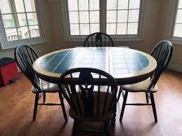 Furniture Oblong Green Tile Top Kitchen Table With  Chairs EBay - Tile top kitchen table and chairs