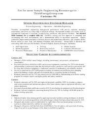 Mechanical Design Engineer Resume Objective Maintenance Resume Samples Maintenance Resume Cover Letter Sample