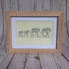 framed elephant print papercut print framed quote