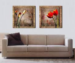 Canvas Painting For Home Decoration by 2 Panels Modern Wall Decorative Pictures Flower Retro Oil Painting