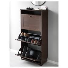 brusali shoe cabinet with 3 compartments brown 61x130 cm ikea