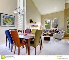 Large Living Room Furniture Large Beige Bright Living Room With Dining Room Table With