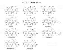 structural chemical formulas of antibiotics tetracyclines stock