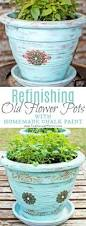 refinishing old flower pots paint color codes homemade chalk