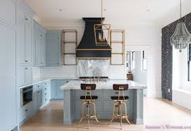 Antique Brass Kitchen Faucet A Classic Vintage Modern Kitchen Blue Gray Cabinets Inset Shaker