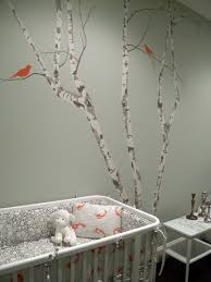 bedroom large black tree nursery wall design with cute birds and