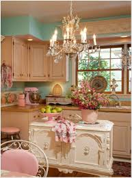 Kitchen Curtains With Fruit Design by A Romantic Kitchen With A French Style Island Kitchen