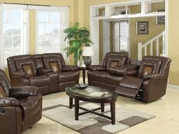 dual recliner sofa with table