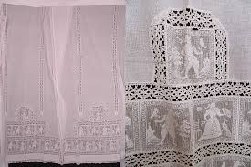 Antique Lace Curtains Antique White Figural Filet Lace Net Drapery Curtain