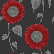 grey wallpaper with red flowers sunflower wallpaper by fine decor
