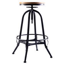 Bar Stool Top Costway Vintage Bar Stool Metal Frame Wood Top Adjustable Height