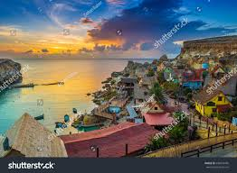 popeye village ilmellieha malta sunset beautiful popeye village stock photo