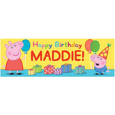 peppa pig birthday personalized peppa pig happy birthday banner walmart