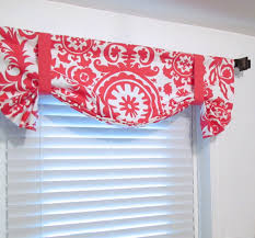 White Tie Curtains Tie Up Lined Valance Suzani Coral White Custom Sizing Available