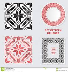 set of ethnic ornament pattern brushes vector illustration stock