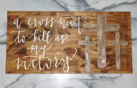 Cross Home Decor by A Cross Meant To Kill Is My Victory Scripture Wood Art