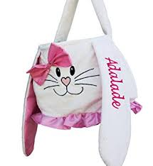 personalized bunny easter basket personalized easter basket pink white plush easter