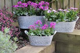 london ornaments embossed metal trough planters set of 3