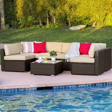 7 piece wicker sectional sofa brown u2013 best choice products