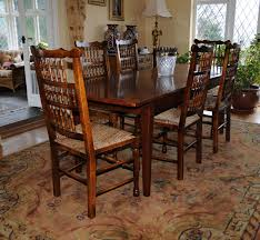 oak kitchen dining set refectory table spindleback chairs set ebay