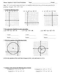 circle equations worksheet