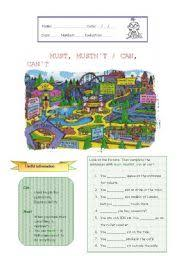 esl kids worksheets must mustn t can can t