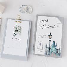 calendrier de bureau photo nouveau 2018 clip en métal série de bureau papier calendriers table