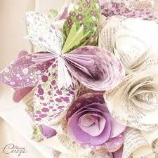 bouquet en papier bouquet mariage atypique fleurs de papier original violet décalé