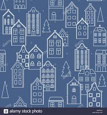 vector seamless pattern background with european houses in blue