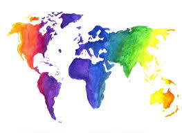 World Map Dominican Republic by Watercolor World Map Print Earth In Rainbow Colors Hand