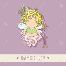 cute vector illustration of a fairy with magic stick doodle