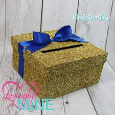 cardbox glitter gold and royal blue gift money box for any event