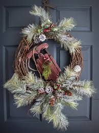 Christmas Decorations Outdoor Wreaths by Winter Door Wreaths With Wooden Snow Sled Winter Wreath