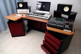 mesmerizing recording elliptic studio desk design ideas with four