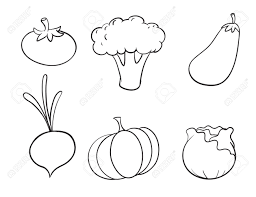 White Background Illustration Of Various Vegetables On A White Background Royalty