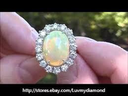 ebay rings opal images Giant vintage 5ct gem opal diamond ring 18k white gold estate jpg