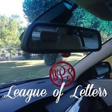 personalized rear view mirror charms 3 inch monogram rear view mirror charm from league of letters