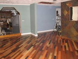 innovative pattern of brown wood floor colors in wide room with