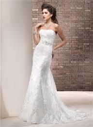 sheath strapless lace wedding dress with swarovski crystals sash