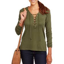junior sweaters poof juniors ribbed sleeve lace up sweater walmart com