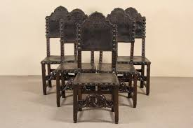 Italian Leather Dining Chair Sold Spanish 1700 U0027s Antique Tooled Leather Set Of 5 Dining