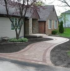 custom brick paver walkway with red brick outline