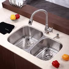 Kitchen Sink Ideas by Kraus Kbu24 32 Inch Undermount 60 40 Double Bowl 16 Gauge