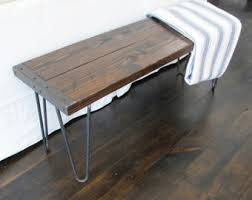 rustic bench with hairpin legs industrial bench reclaimed