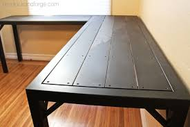 industrial office table all steel construction black patina and