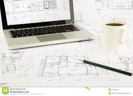 house blueprints and floor plan with notebook stock photo image