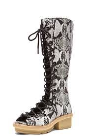 3 1 phillip lim mallory python print leather tall sandal boots in